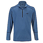 Woodworm Golf Heather Stitch Striped Mens Pullover Sweater Windshirt Jumper - Blue