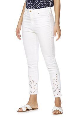 F&F Cutwork Hem Skinny Ankle Grazer Jeans White 16 Short leg