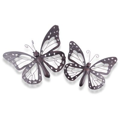 Beau Set Of Two Decorative Metal Butterfly Garden Wall Art Black / Brown Finish