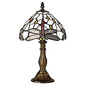 Traditional Stained Glass Dragonfly Table Lamp Bronze