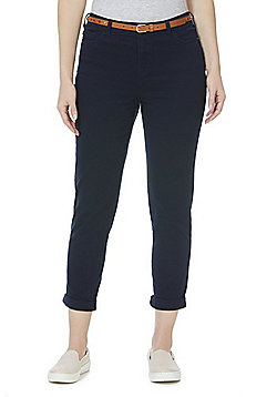 F&F Mid Rise Skinny Trousers with Belt - Navy