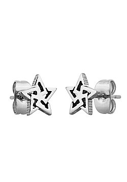 Men's Stainless Steel 10mm Tribal Star Stud Earrings by Urban Male