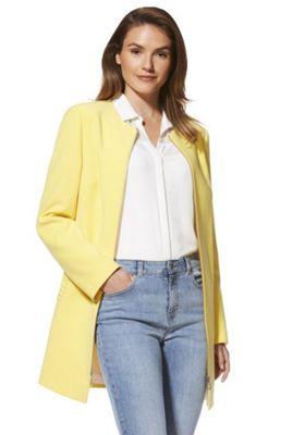 F&F Crepe Frill Pocket Collarless Coat Yellow 14