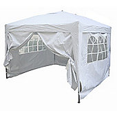 3x3m Pop-up Gazebo 2 Windbars waterproof coating layer Marquee Canopy With Sides (White)