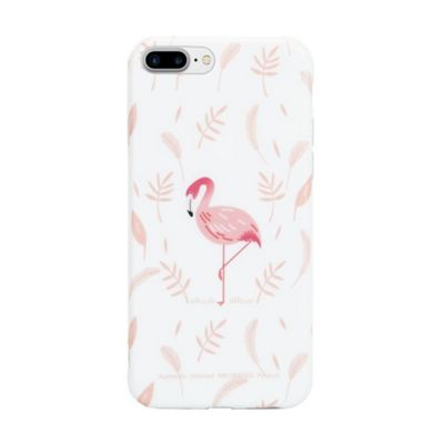 iPhone 7 Plus Flamingo With Pink Leaf Background Protective Phone Case - Pink