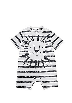 F&F Striped Lion Face Romper - White