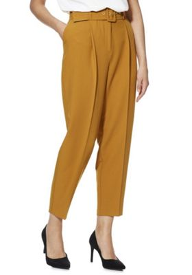 F&F Belted Tapered Trousers Mustard Yellow 12