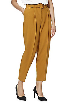F&F Belted Tapered Trousers - Mustard Yellow