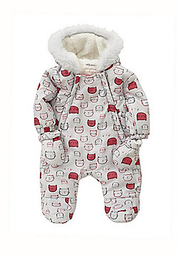 F&F Cat Print Shower Resistant Pramsuit with Mittens - Grey