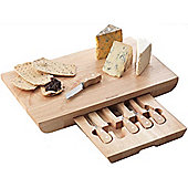 Deluxe Extra Large Rectangular Cheese Serving Board with Knife Drawer and 5 Specialist Cheese Knives Set