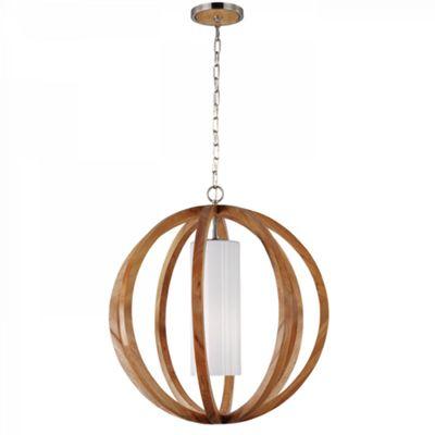 Light Wood / Brushed Steel Large Pendant - 1 x 75W E27
