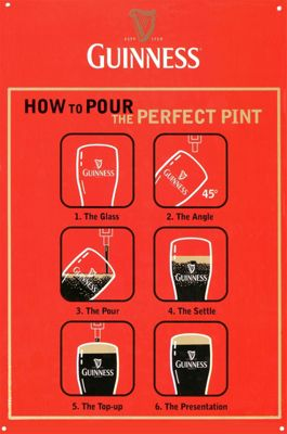 Guinness How to Pour the Perfect Pint Tin Sign