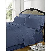 Dreamscene Highams 100% Egyptian Cotton Plain Dye Valance Sheet - Blue