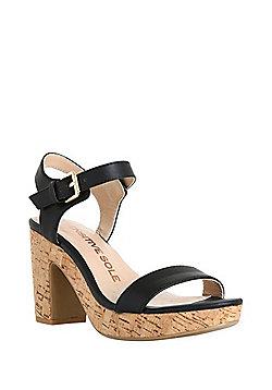 F&F Sensitive Sole Cork-Effect Platform Heeled Sandals - Black