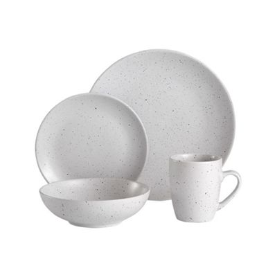 Ladelle Sable Speckled White 16 Piece Dinner Set