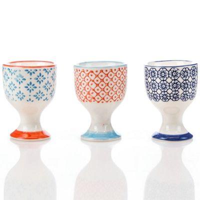 Nicola Spring Porcelain Printed Breakfast Egg Cups Multipack - Set of 3