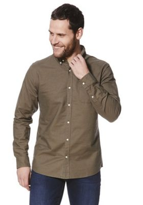 F&F Long Sleeve Oxford Shirt Khaki L