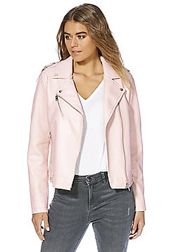 F&F Textured Faux Leather Biker Jacket - Blush