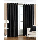 Riva Home Fiji Faux Silk Eyelet Curtains - Black