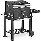 VonHaus Large Charcoal BBQ with Side Table Rack