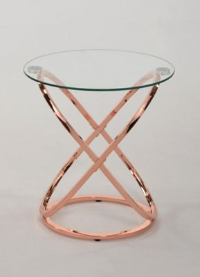 Monarch Glass Side End Table,Copper/Clear