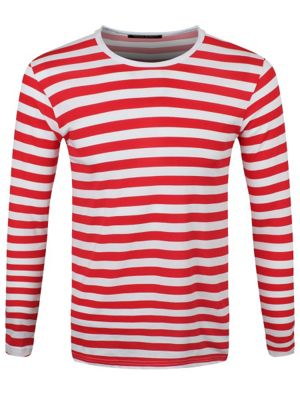 Striped Red and White Long Sleeved Men's T-shirt