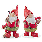 Max & Mason the Traditional Red Gardening Gnome Figurine Ornament Pair