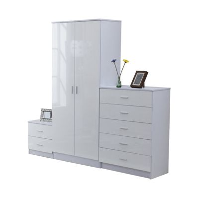 homcom high gloss 3 piece bedroom furniture set - Tesco Bedroom Furniture