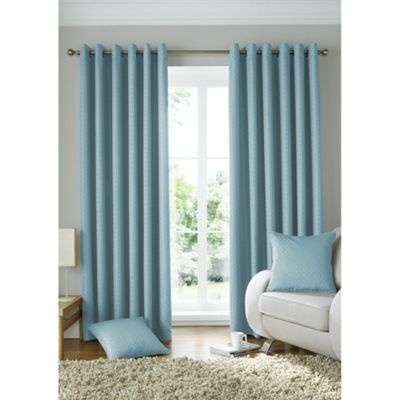 Alan Symonds Lined Solitaire Duck Egg Eyelet Curtains - 46x54 Inches (117x137cm)