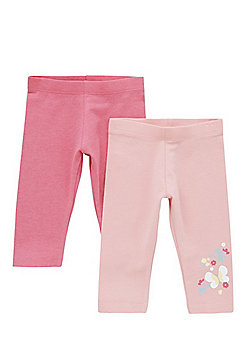 F&F 2 Pack of Butterfly Print and Plain Leggings - Pink
