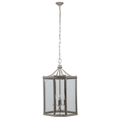 Large Nickel Lantern Electrified Pendant Light Ceiling Decor Traditional
