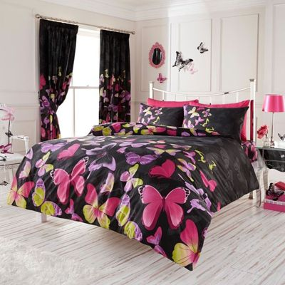 Fashion Butterfly King Duvet Cover and Pillowcase Set - Black and Pink
