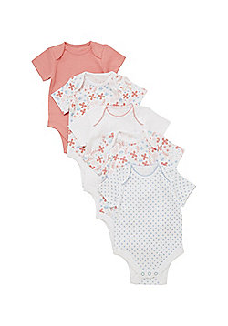 F&F 5 Pack of Floral Print, Pointelle and Plain Short Sleeve Bodysuits - Multi