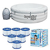 Bestway Lay-Z-Spa Vegas & Starter Package - 6 Filters, Chemicals, Test strips