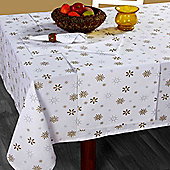 Homescapes Cotton Christmas Gold Snowflake Tablecloth, 54 x 90 Inches