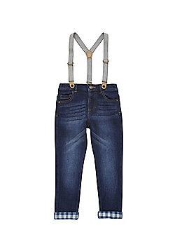 F&F Slim Fit Jeans with Braces - Indigo