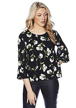 Izabel London Floral Ruffle Sleeve Top - Black & Multi