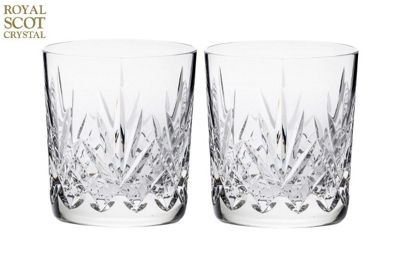 Royal Scot Crystal Highland Set of 2 Large 11oz Whisky Tumblers in Black Gift Box HIGH2LT