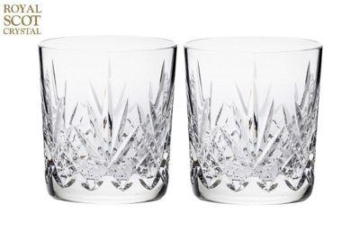 Royal Scot Crystal Highland Set of 2 Large 11oz Whisky Tumblers in Black Gift Box HIGH2LT