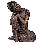 24cm Bronze Effect Polyresin Sitting Buddha Statue