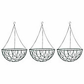 3 x 16-inch Green Metal Hanging Basket