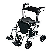 Homcom Transport Mobility 2 in 1 Aluminium Walking Rollator to a Wheelchair