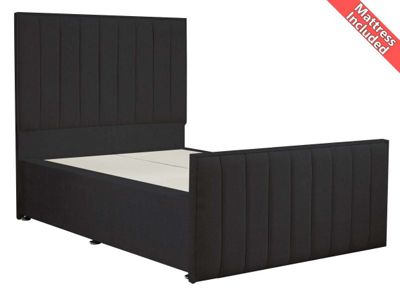 Luxan Hampstead Dun Colours Bed Set - Charcoal - Single 3ft - 2 Drawers