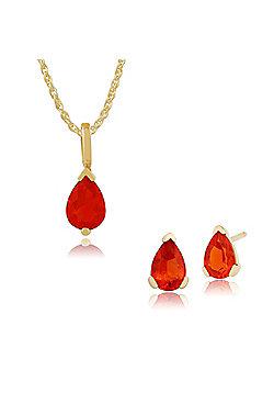 Gemondo 9ct Yellow Gold Fire Opal Pear Stud Earring & 45cm Necklace Set