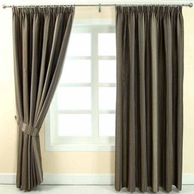 Homescapes Grey Jacquard Curtain Modern Striped Design Fully Lined - 90