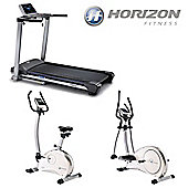 Horizon Cardio Package 2: Omega 2 Treadmill, Syros Elliptical Trainer & Paros Cycle