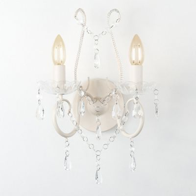 Brigantine Twin Arm Wall Light, Distressed White