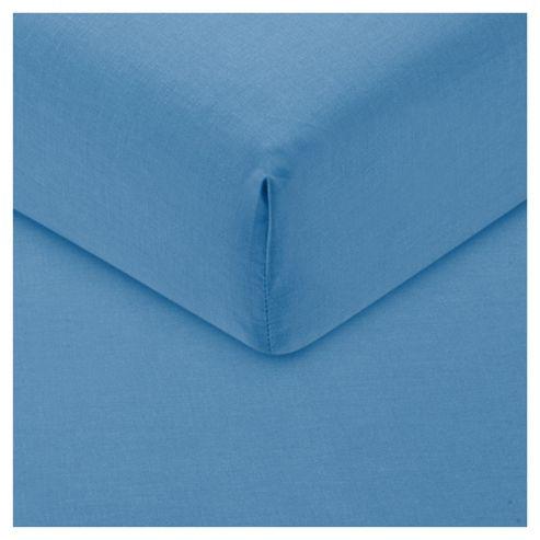 Tesco Fitted Sheet Single Sea Blue