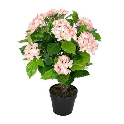 Homescapes Pink Hydrangea Bush Artificial Plant with Pot, 70 cm
