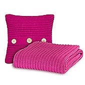 Catherine Lansfield Chunky Knit Cushion Cover & Throw Set - Raspberry